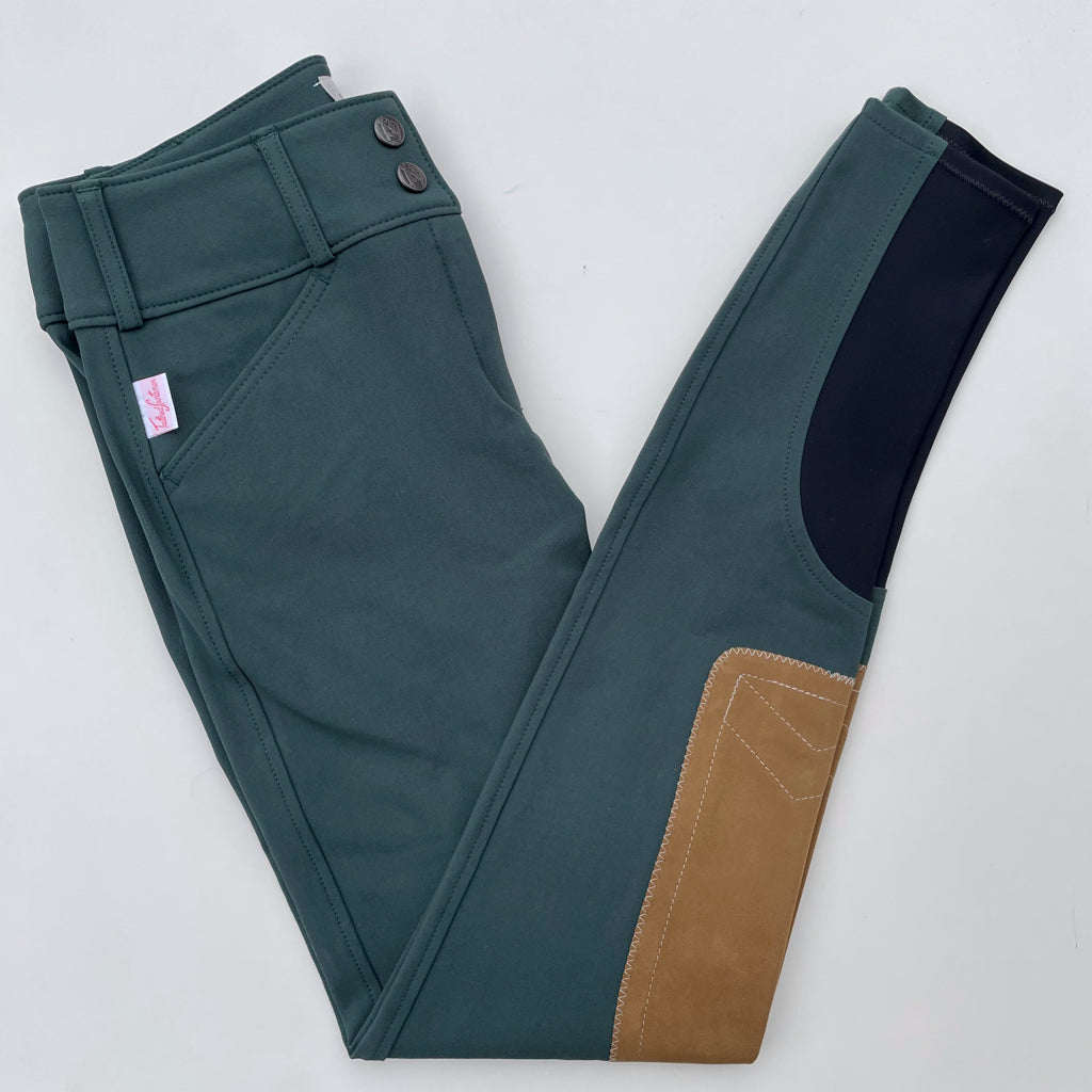 Charcoal//Tan Patch, 26R Tailored Sportsman Ladies Trophy Hunter Low Rise Front Zip Breech