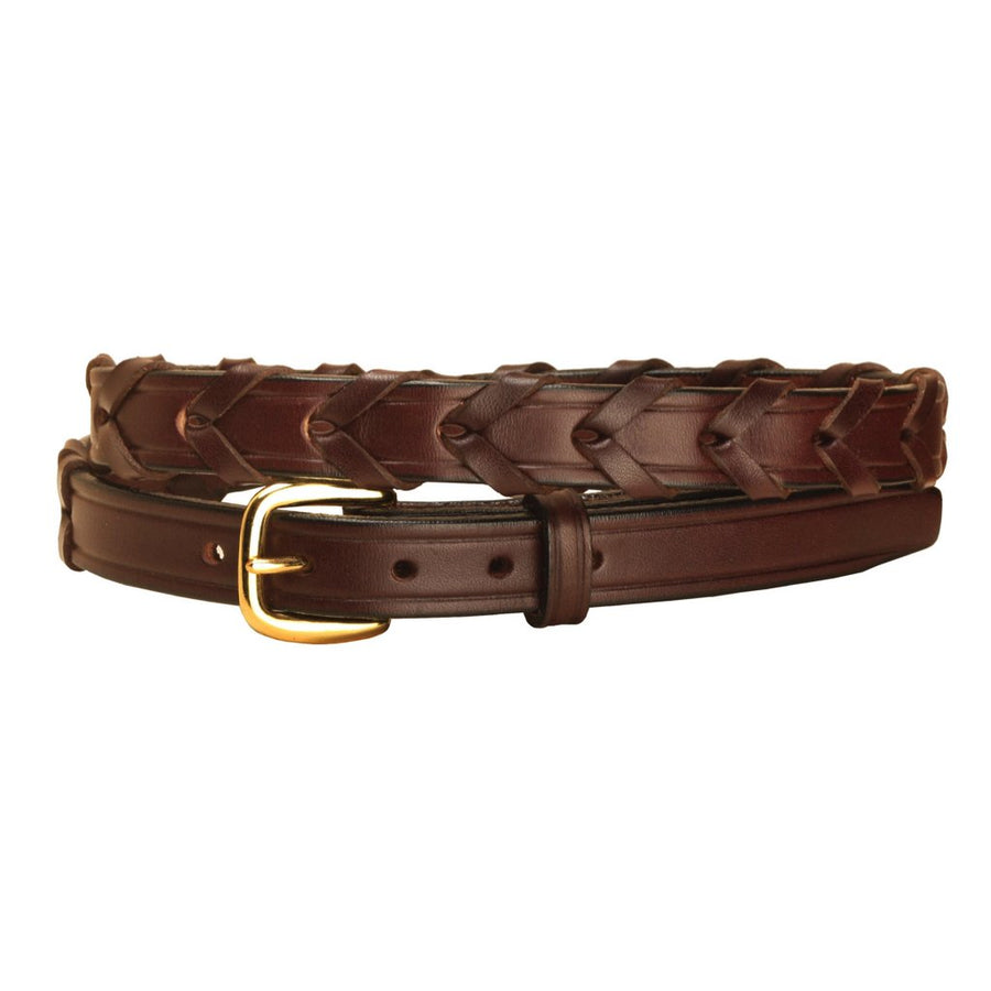 Tory Laced Rein Leather Riding Belt Havana