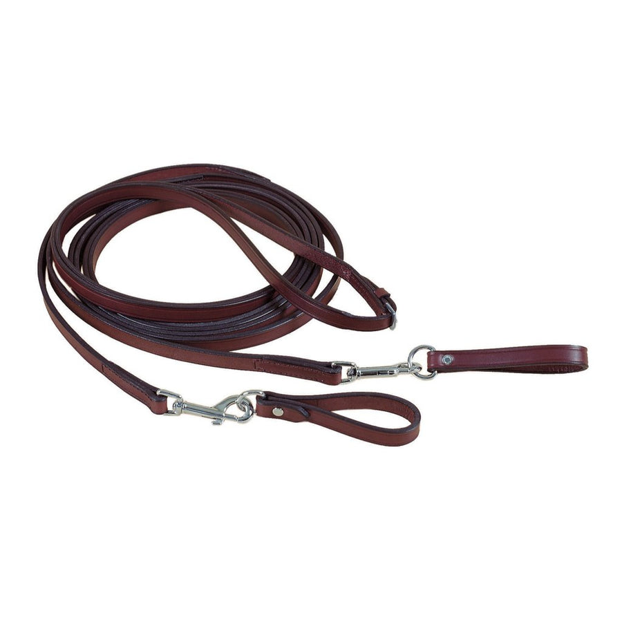 Tory Long Leather Draw Reins with Snap Havana