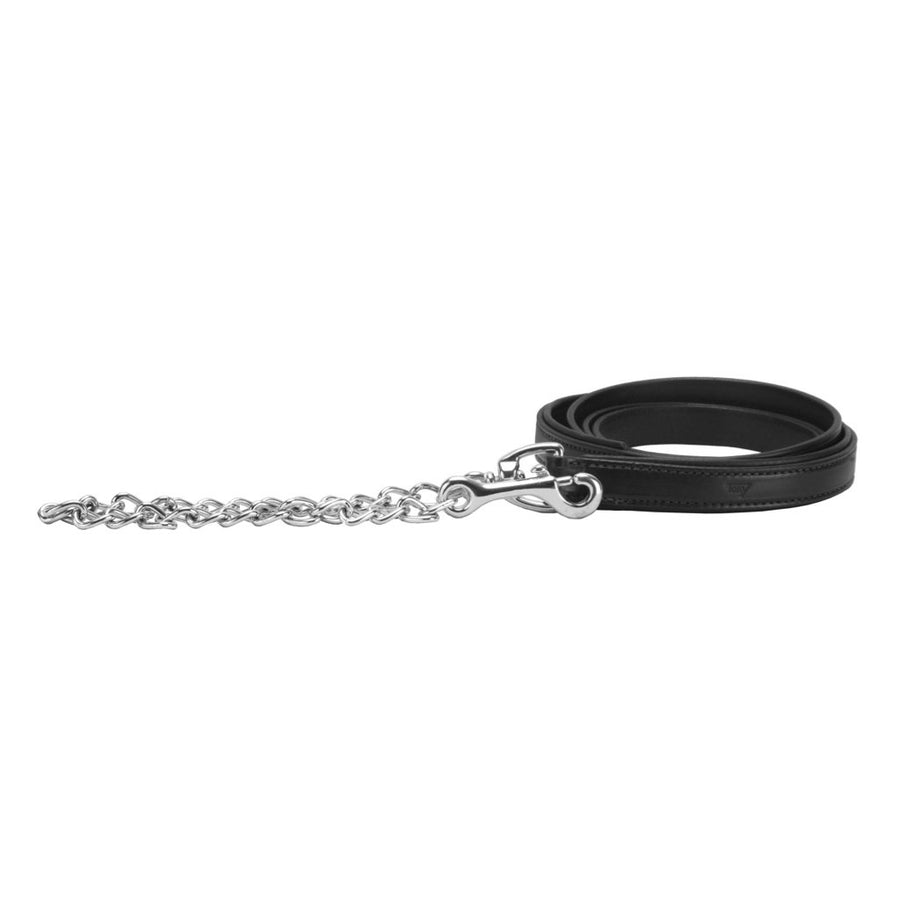 "Tory Padded Leather Lead with 24"" Nickel Chain Black"