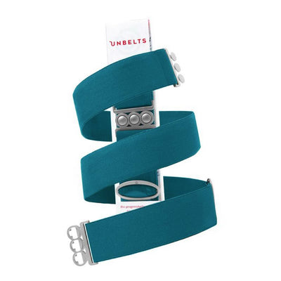 Unbelts Non-Bulky Classic Belt Aqua with Silver Buckle