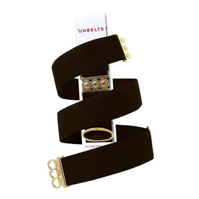 Unbelts Non-Bulky Classic Belt Deep Espresso with Gold Buckle