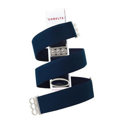 Unbelts Non-Bulky Classic Belt French Navy with Silver Buckle