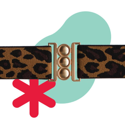 Unbelts Non-Bulky Classic Belt Leopard with Gold Buckle