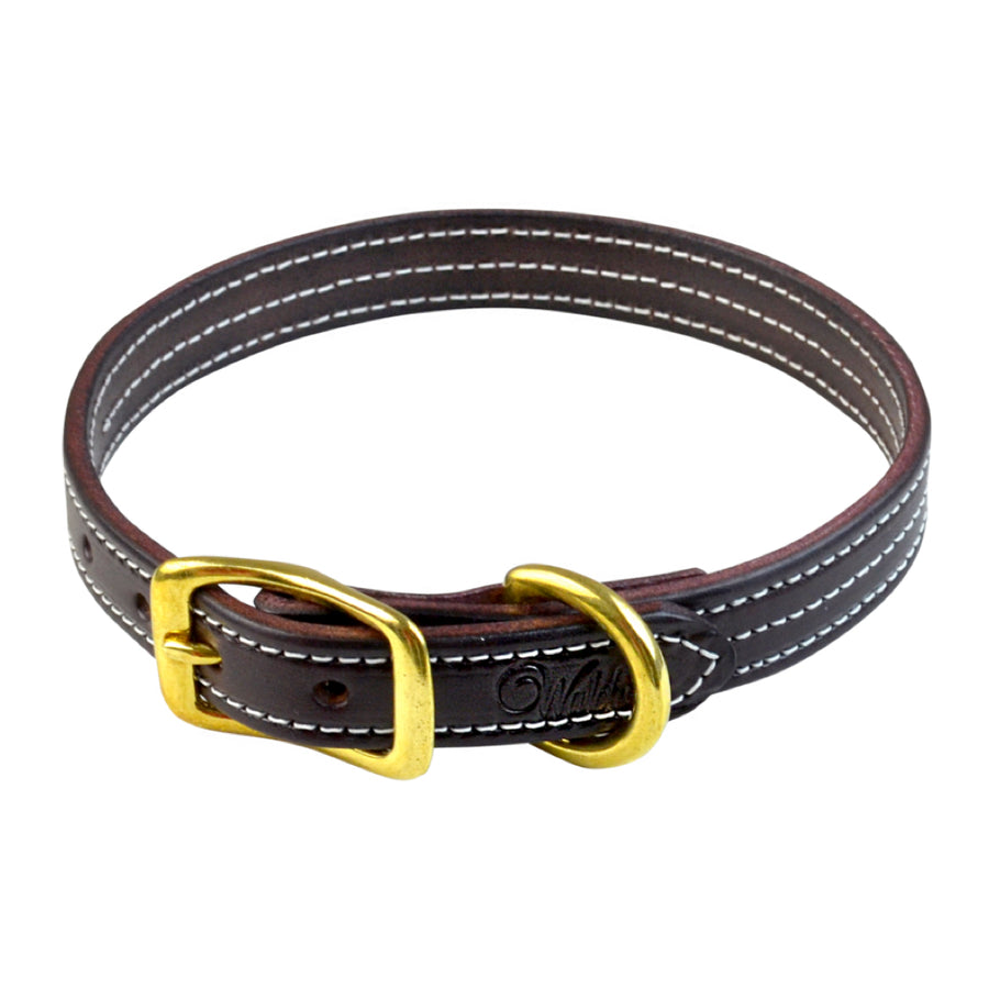 Walsh British Leather Dog Collar Havana