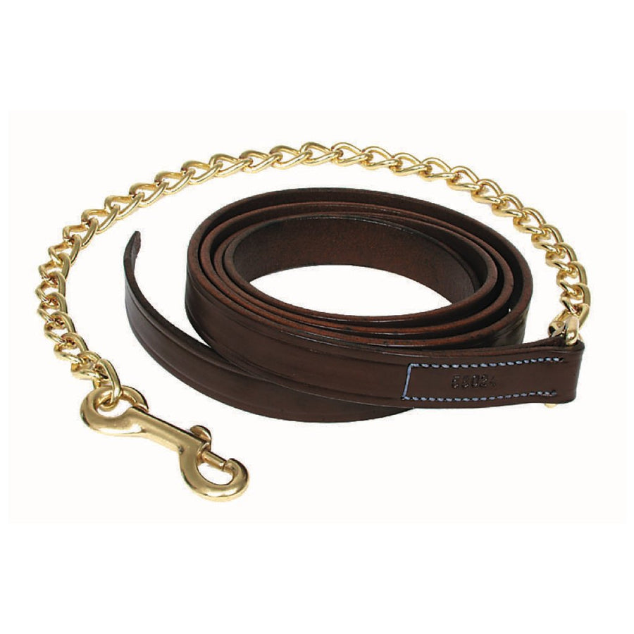 "Walsh Plain Leather Lead with 24"" Chain Chestnut"