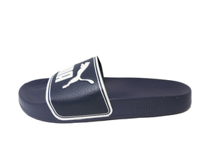 Puma Men's Leadcat Slide Sandal in Peacoat-White Navy Blue