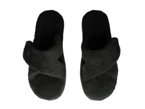 vionic indulge relax women's plush terrycloth orthopedic slippers in black