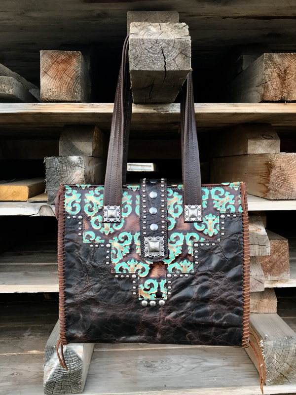 Handmade western leather tote bag purse