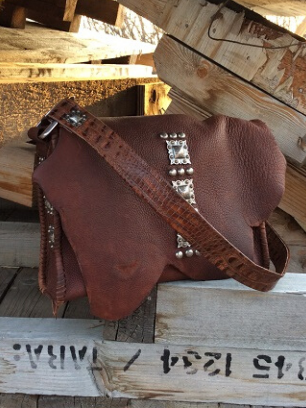 Handmade western leather messenger bag