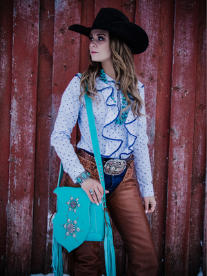 Handmade western leather crossbody bag