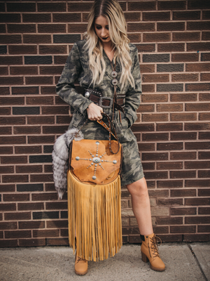Handmade western leather fringe purse