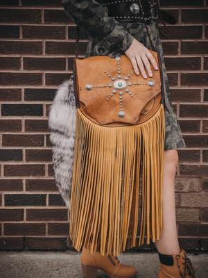 Raw Edge XL Fringe Saddle Bag