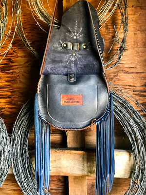 Raw Edge Fringe Saddle Bag