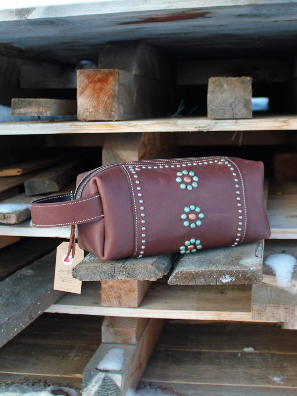 Handmade western leather makeup bag