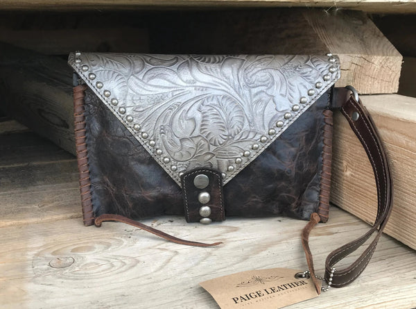Handmade western leather clutch
