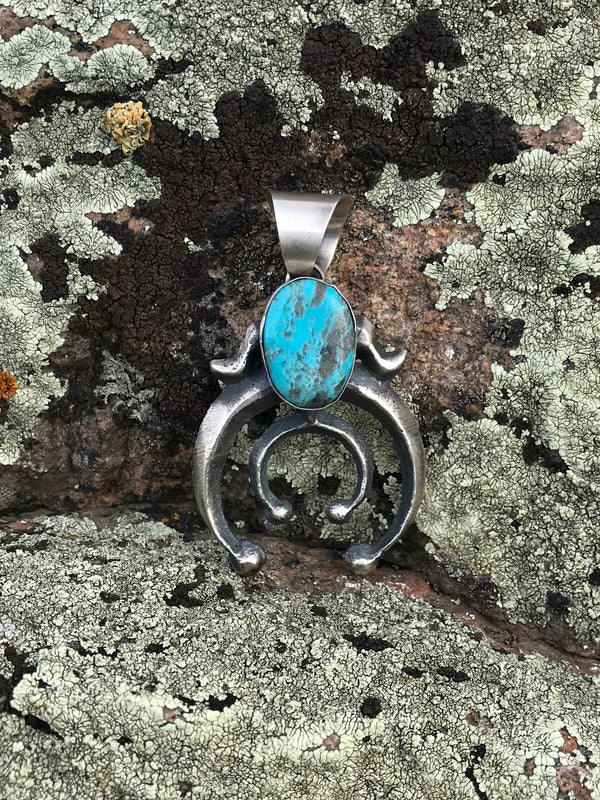 Turquoise & Sterling Silver Naja Pendant