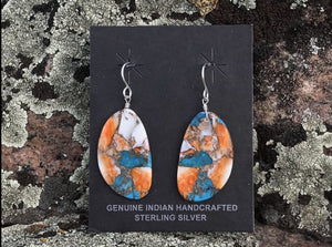 Spiney Oyster & Turquoise Slab Earrings
