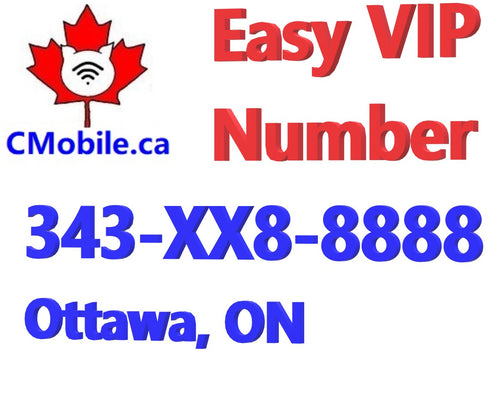 Ottawa Lucky Business Phone Number 343-XX8-8888  with five repeating 8 in end and 3 years free service