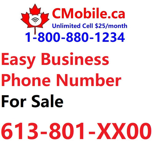 Ottawa, ON : 613-801-XX00  easy phone number