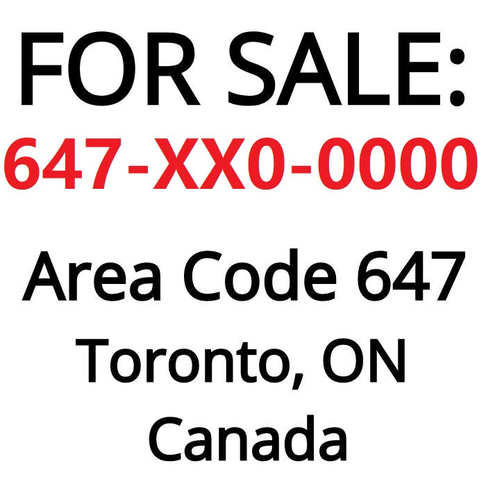 Toronto, ON : 647-XX0-0000 VIP Business Number