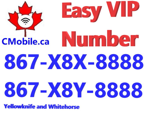 North Territories and Yukon Territory Lucky VIP number bundle  ending with 8888 (Yellowknife and Whitehorse )