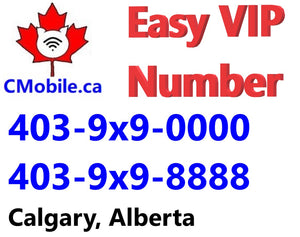 Dual VIP number 403-9X9-0000 and 403-9X9-8888 bundle from Calgary , Alberta