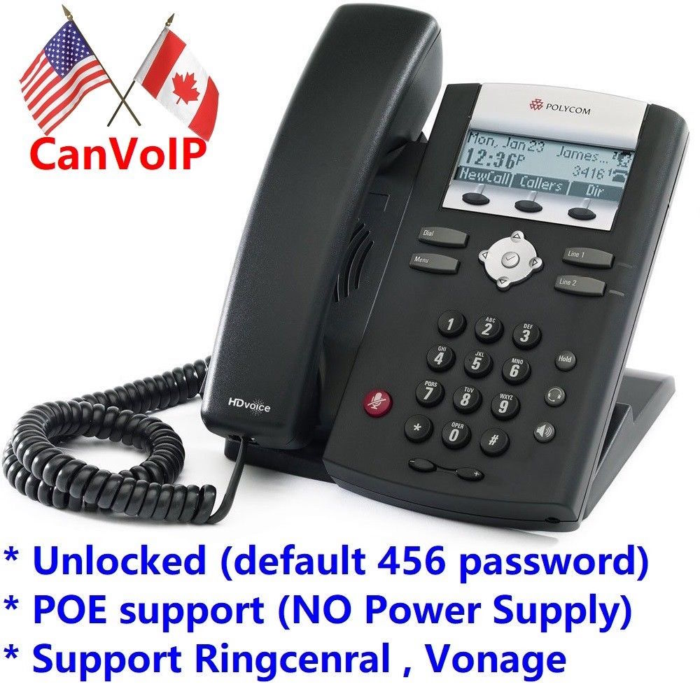 Unlocked Polycom SoundPoint 335 IP Phone for RingCentral, Vonage, Asterisk