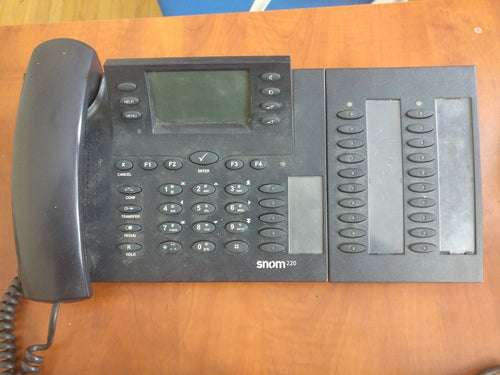 Snom 220 unlocked voip phone w/ 20 key expansion module and 48V power supply