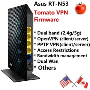 Asus RT-N53 Dual band Wireless N600 Router with Tomato OpenVPN and PPTP VPN