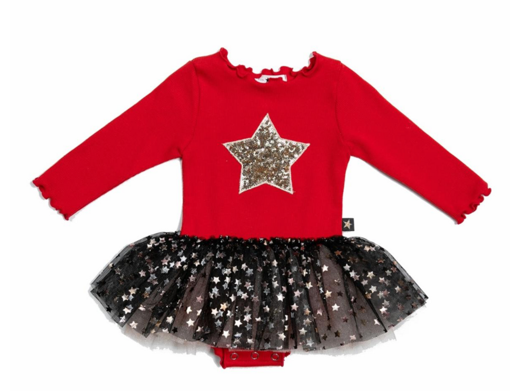 PETITE HAILEY - Red/Gold Star Onesie Tutu Dress (Baby)