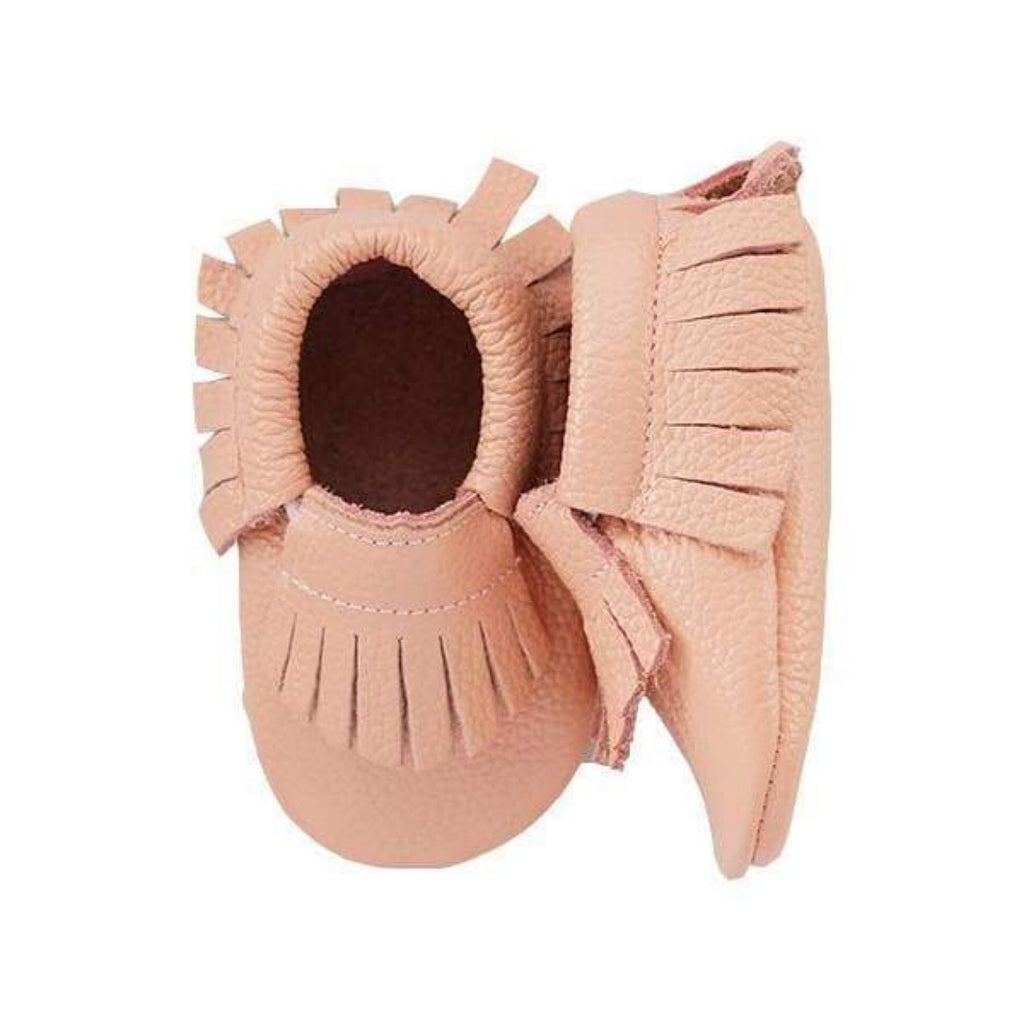Mila&Rose- Peachy Pink Leather Baby Moccasins