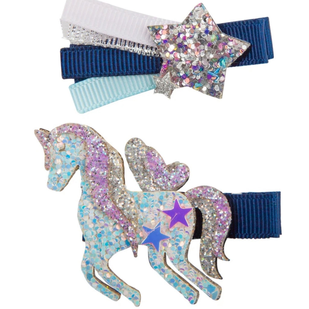 Great Pretenders- Boutique Navy Unicorn Star Hair Clip