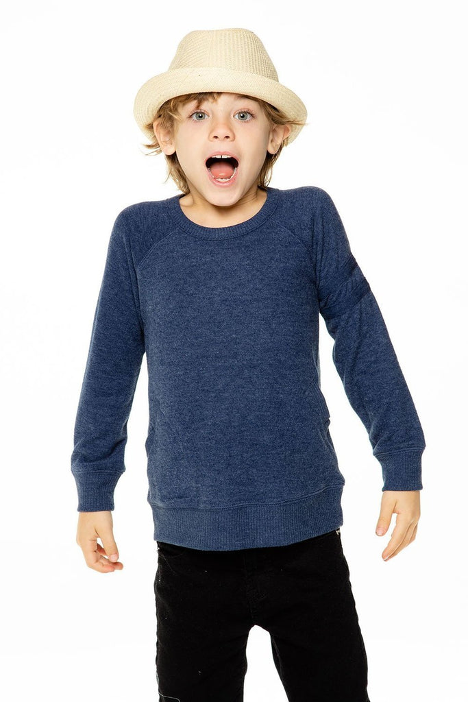 BOYS LOVE KNIT LONG SLEEVE POCKET PULLOVER WITH STRAPPINGS