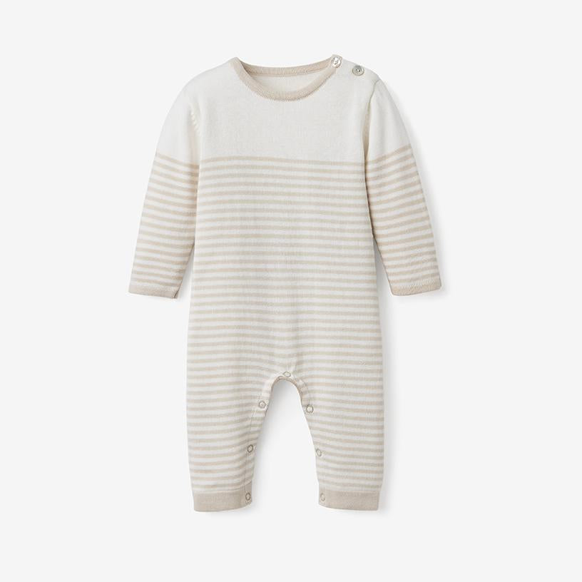 Elegant Baby- Wheat Mini Stripe Cotton Knit Jumpsuit
