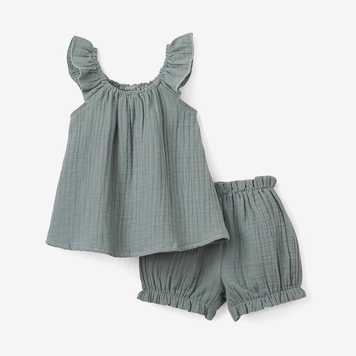 Elegant Baby-  Sage Muslin Flutter Sleeve and Bloomer Set