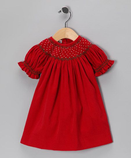 Hug Me First- Holiday Red Hand Smocked Bishop Dress