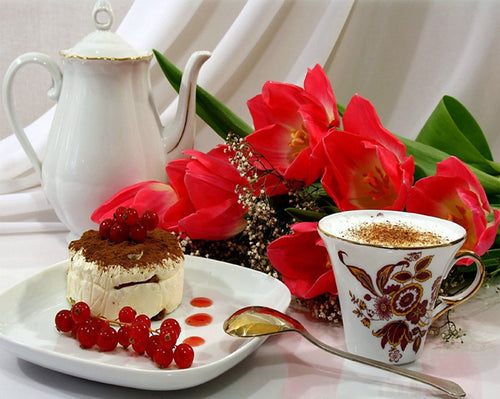 Coffee Cake Flowers 5D Diamond Painting