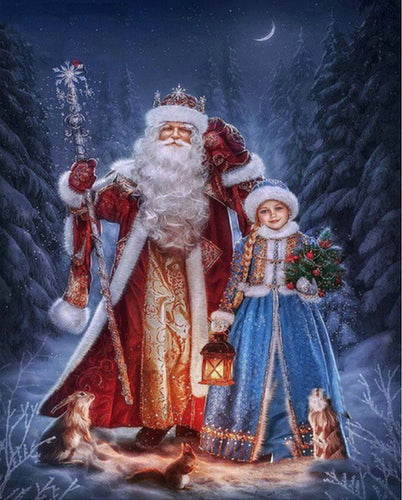 Santa Claus & Girl Diamond Painting