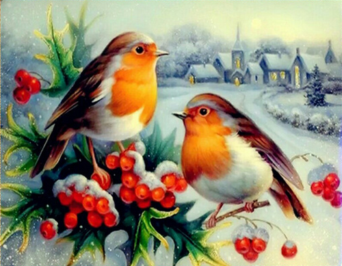 Bird with Fruit Full Square Diamond Painting
