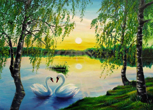Sunset Tree Lake Swan Full Square Diamond Painting