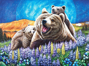 Bear On Lavender Field Full Square/Round Diamond Painting