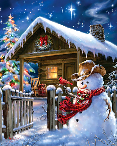 Christmas Snowman House Full Square Diamond Painting