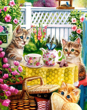 Cats Tea Time Full Round/Square Diamond Painting