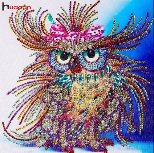 Special Shaped Colorful Owl Partial Diamond Painting
