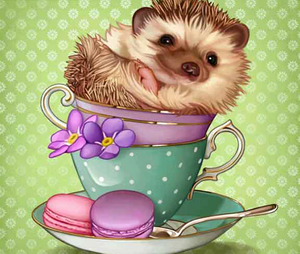 Hedgehog Teacup Full Diamond Painting - Kids Kit