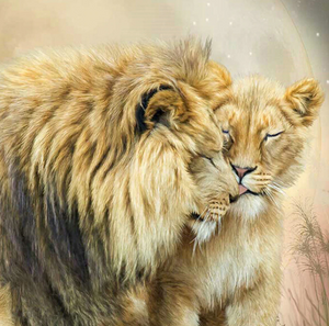 Lion Mother Child Love Full Square Drill Diamond Painting