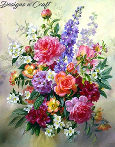 Mixed Flowers Partial Round Diamond Painting