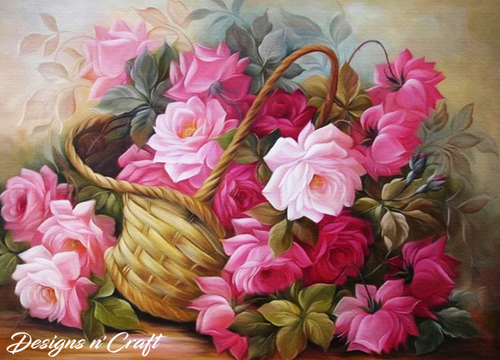 Basket of Flowers Partial Round Diamond Painting