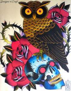 Skull + Owl Full Square Diamond Painting